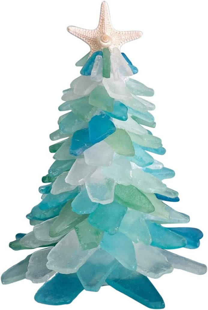 "Tantrum Tow Ropes Christmas Sea Glass Tree Nautical Decor | Coastal Decor | Beach Gifts | Coastal Christmas | Seaglass Gifts | Unique Gifts | Salty Signs Designs (6"")"