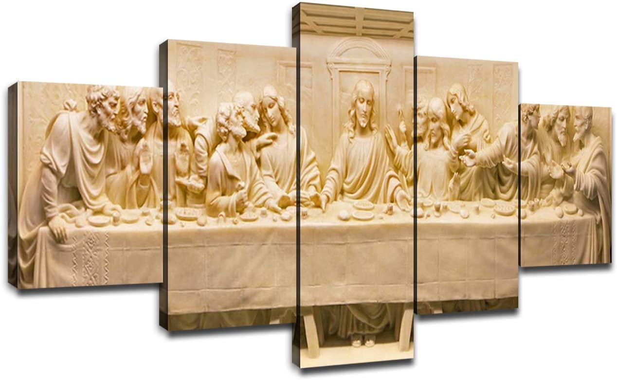Last Supper Pictures for Wall Jesus Christ Painting Ultima Cena White Sculpture Artwork Dining Room Wall Decor Canvas Art Frame Poster Kitchen Living Room Decoration Ready to Hang(60''Wx32''H)