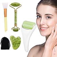 Rodillo Masajeador Facial de jade, facial Gua Sha, Rodillo de hielo para rostro y ojos, Cepillo de mascarilla de…