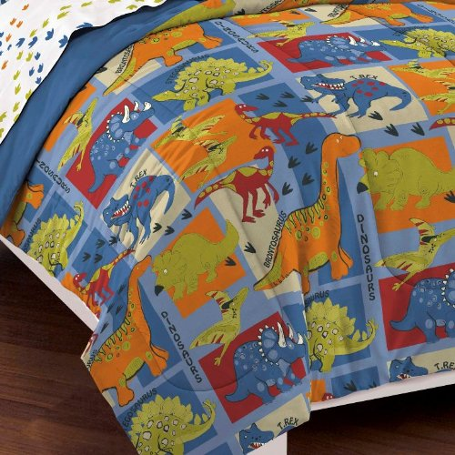 dream FACTORY Dinosaur Blocks Ultra Soft Microfiber Boys Comforter Set, Blue, Twin by dream FACTORY (Image #2)