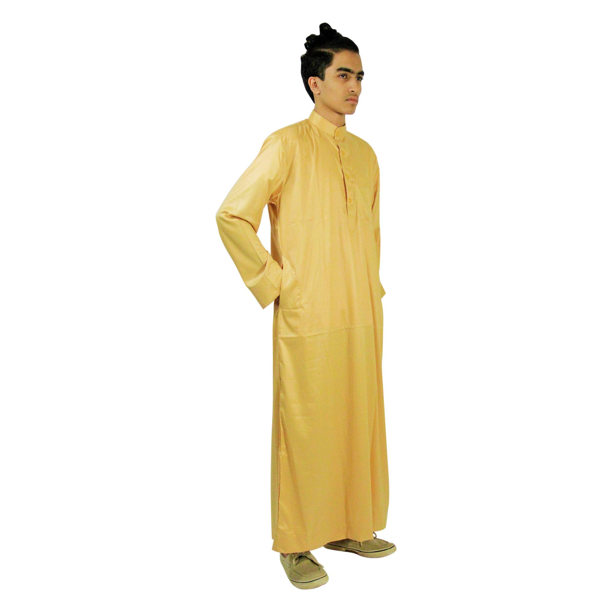 Hijaz Long Sleeve Fitted Men's Formal Golden Thobe Polished Cotton Arab Robe - L