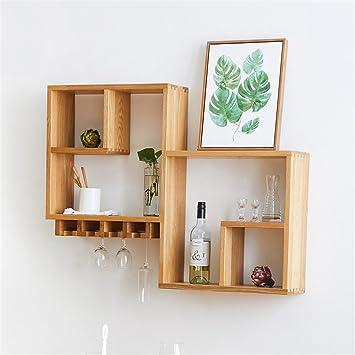 lilsn- White Oak Wall Shelves Walnut Restaurant Wall Hanging Wine ...