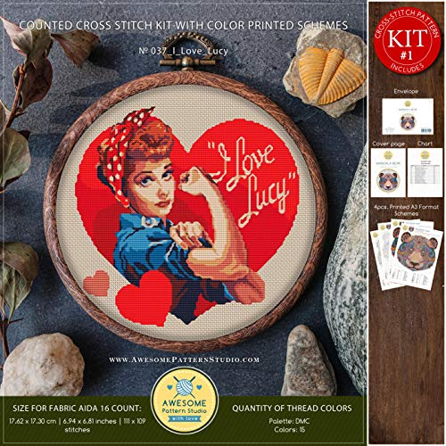 I Love Lucy #K037 Embroidery Kit   Movie Character Stitching   Embroidery Kits   Needlepoint Kits   Cross Stitch Embroidery   Cross Designs