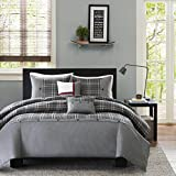 MP 5 Piece Grey Plaid King/Cal King Size Duvet Cover Set, Vibrant Gray Lumberjack Cabin Country Themed Lodge Checkered Bedding, Woods Tartan Madras Checked Squared Stripes, Polyester