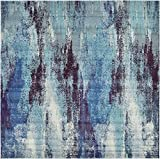 Modern Abstract Contemporary Area Rugs Blue 8′ x 8′ Square Mayfair Rug Review