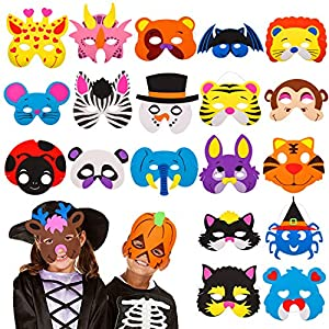 24 Pieces Foam DIY Animal Kids Masks for Halloween/Birthday Party Favor,Dress Up Animal Masks-Birthday Goodie Bags for Kids