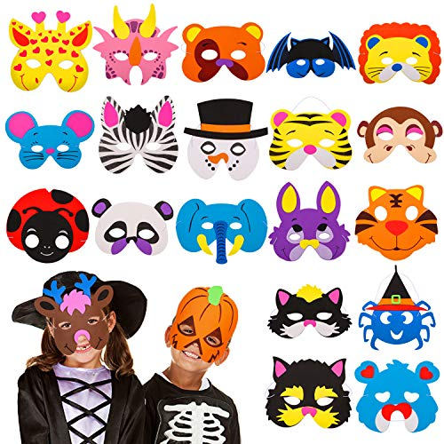 (24 Pieces Foam DIY Animal Kids Masks for Christmas/Birthday Party Favor,Dress Up Animal Masks-Birthday Goodie Bags for)