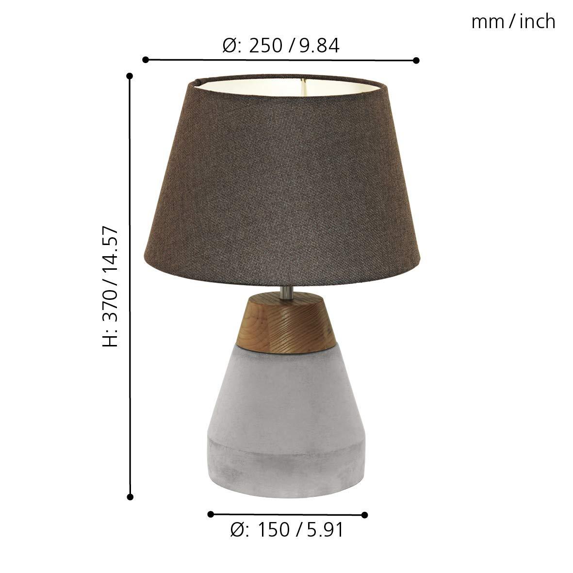 Beton Material: Stahl Holz braun Fassung: E27 EGLO Pendellampe Tarega /Ø: 150 mm 1 flammige Beton H/ängeleuchte Farbe: Grau