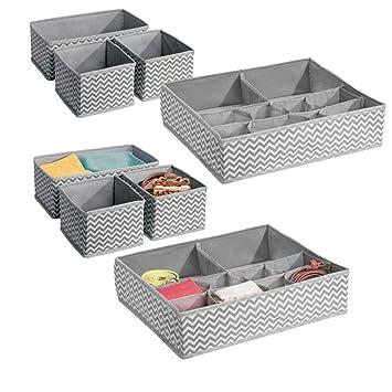revendeur 583ec 7d74f mDesign boîte de Rangement pour armoires ou tiroirs (Lot de 8) – Panier de  Rangement idéal pour vêtements, Linge, Accessoires et Bijoux – bac de ...
