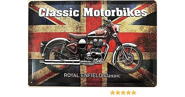 Deko7 Royal Enfield Classic - Cartel de Chapa (30 x 20 cm), diseño de Motos