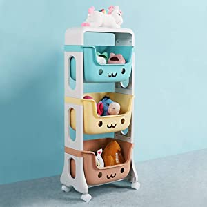 WillingHeart Kids Toy Storage Organizer 3-Tier Rolling Cart,Playful Colors Smiley Design Children Playroom Decor Doll Activity Rack Shelf Plastic Bins Box Mobile Move Everywhere with Caster Wheels