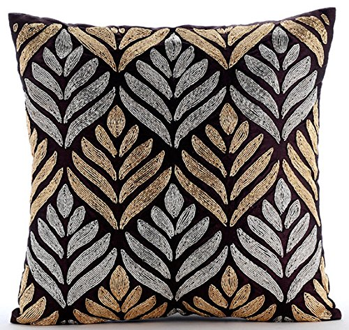 Paintbrush Flower - 16x16 inches Square Decorative Throw Pillow Cover Plum Velvet Pillow Cover With Silver & Gold Zardozi Embroidery