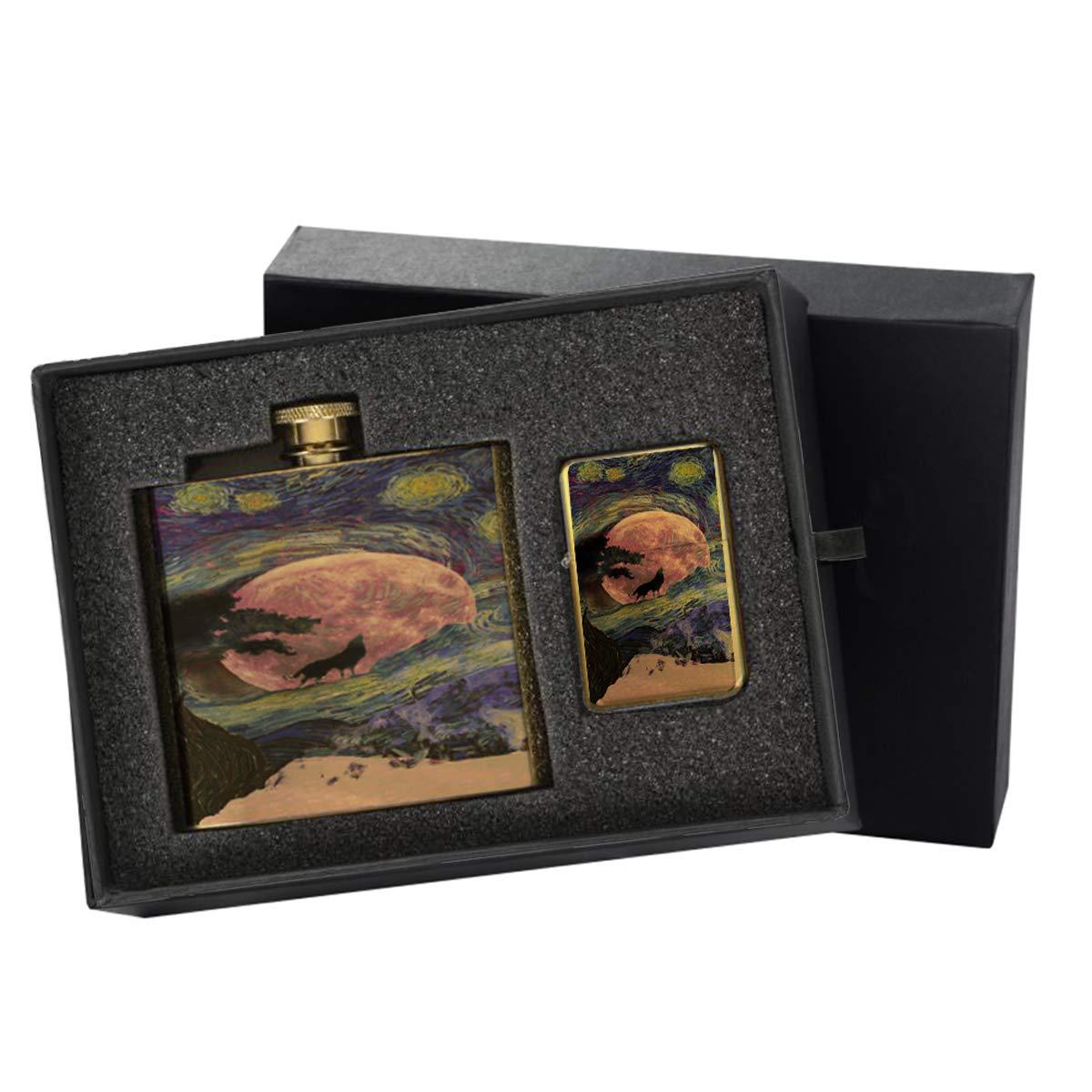 Van Gogh Starry Wolf Moon Night - Gold Lighter and Pocket Hip Liquor Flask Survival Camping Gift Box Set