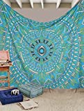 Exclusive Branded Blue God's EyeTapestry By Urbanknot Psychedelic Hippie Mandala Bohemian Dorm Decor Wall Hanging