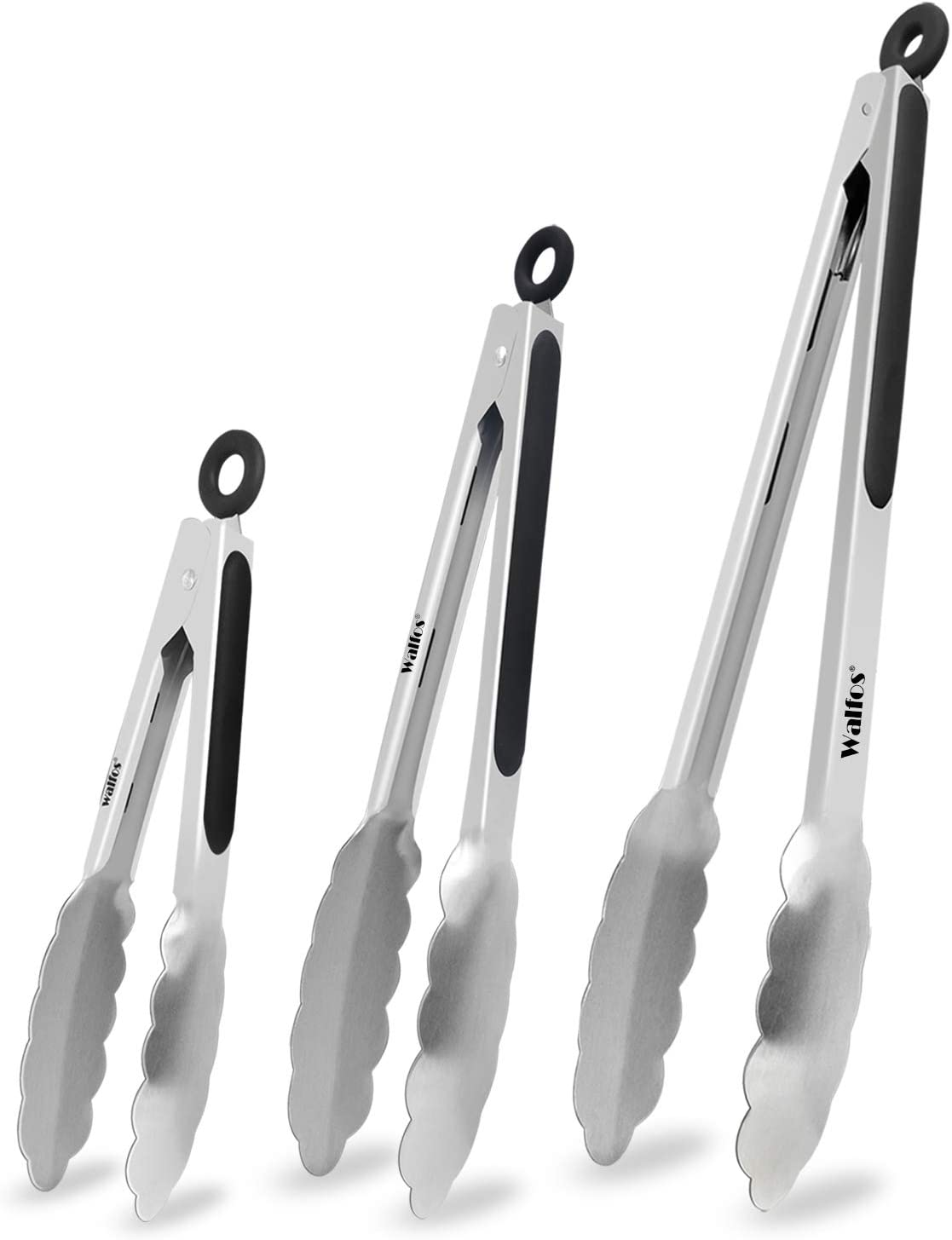 Food Grade Stainless Steel Kitchen Tongs for Cooking,BBQ - 7 ,9 and 12 Inch,Set of 3 Heavy Duty Locking Metal Food Tongs Non-Slip Grip