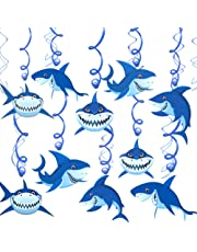 Konsait Shark Hanging Swirl Decoration Home Ceiling Wall Decor for Shark Sea Themed Splash Party Baby Shower Birthday Party Favor Supplies Decor for Boy Girls Kids (30Pack)