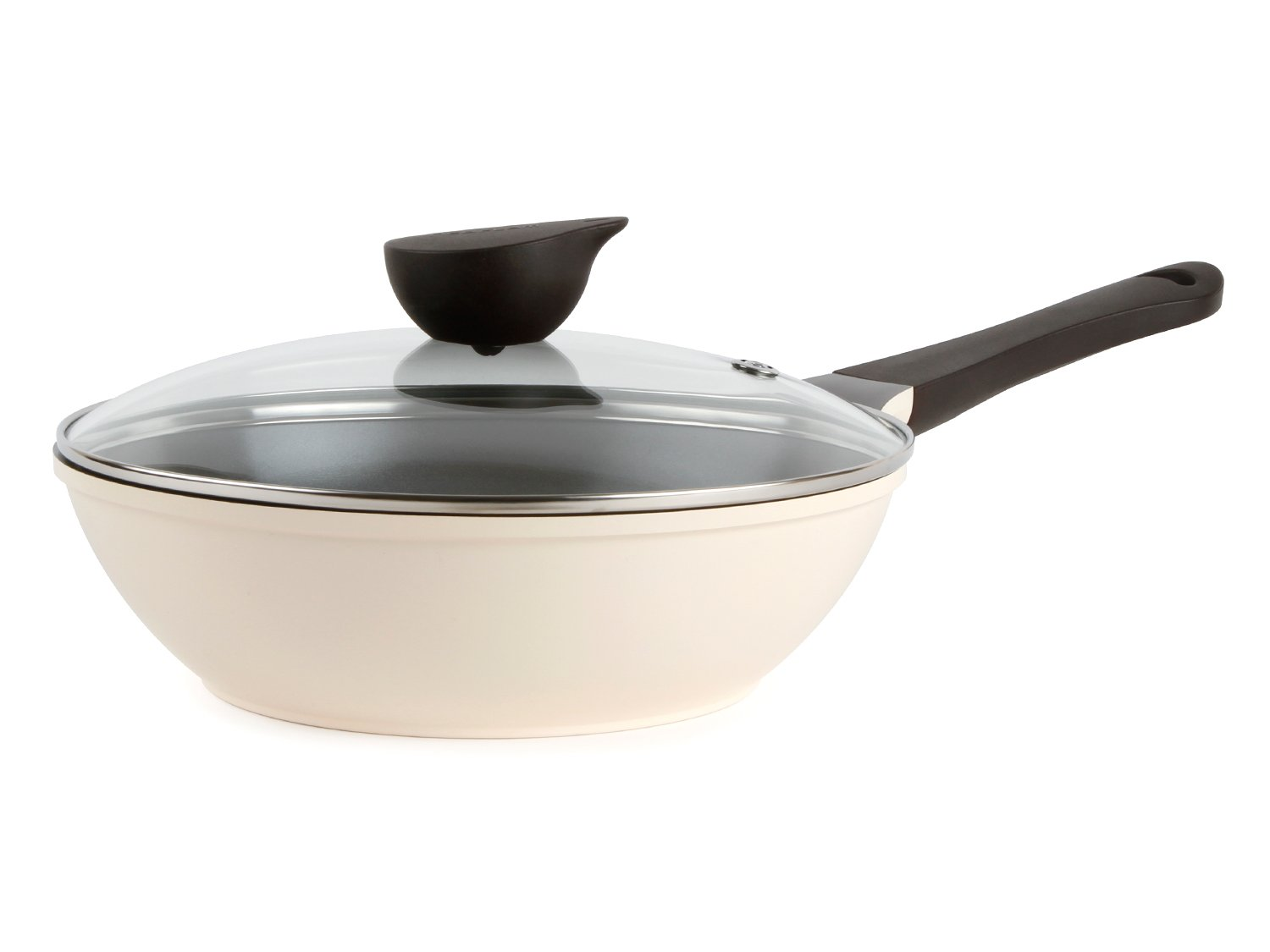 Wok (Chef's Pan) with Glass Lid - 10-inch Ceramic Nonstick in Ivory by Neoflam 51220