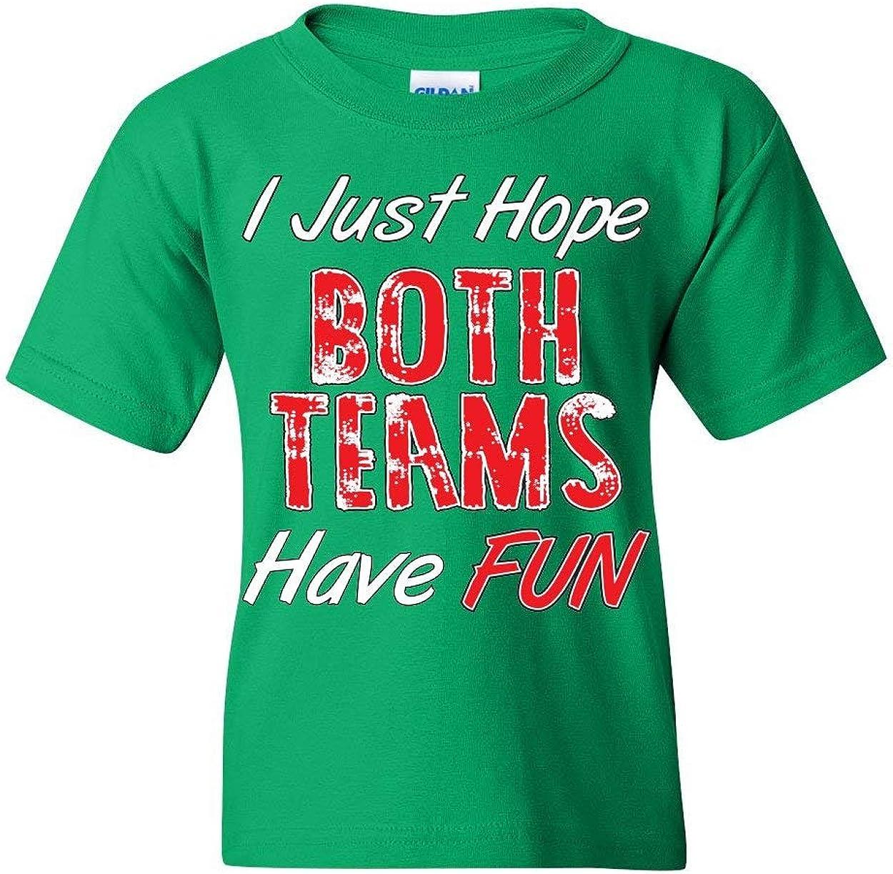 I Just Hope Both Teams Have Fun Youth T-Shirt Football Baseball Hockey Kids Tee
