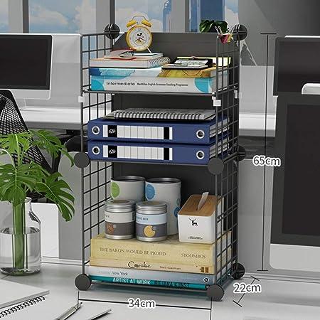 WAYERTY Escritorio Almacenamiento Organizador Pantalla Estantería Estante,contraparte Librerías Metal Estantería Independiente Mesa Libros Estantes para Office & Home Negroe 34x22x65cm(13x9x26inch): Amazon.es: Hogar
