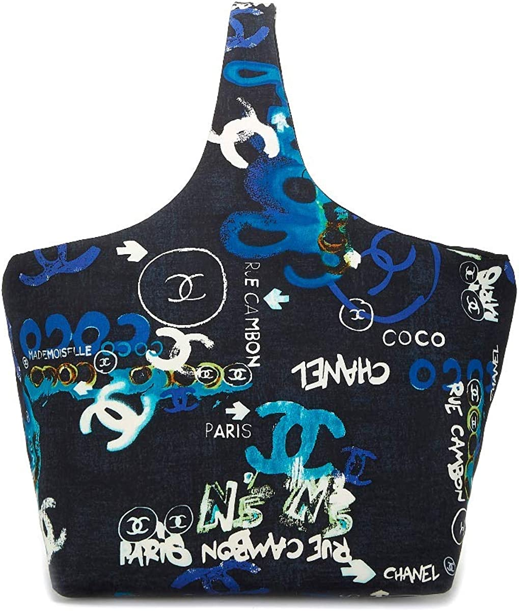 CHANEL Black Multicolor Graffiti Logo Print Cotton Hobo (Pre-Owned)