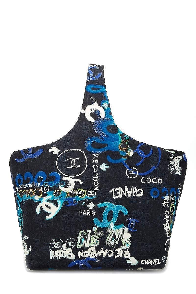 CHANEL Black Multicolor Graffiti Logo Print Cotton Hobo (Pre-Owned)