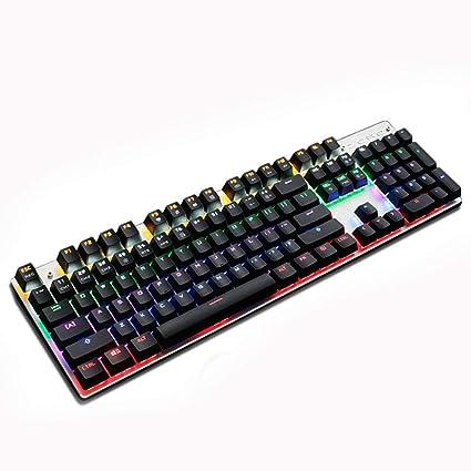 IWTGR GK830 Teclado mecánico, 104 Claves Esports PUBG Teclado para Juegos, LED RGB retroiluminado