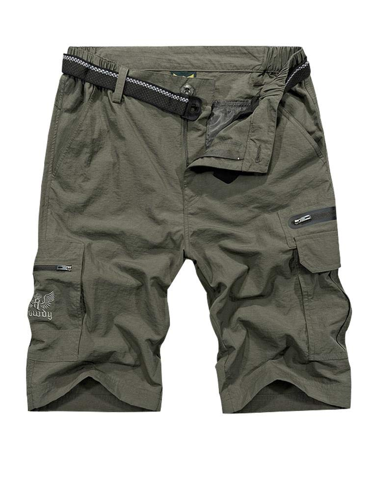 Men's Outdoor Tactical Shorts Lightweight Expandable Waist Cargo Shorts with Multi Pockets Quick Dry Water Resistant #6222, Army Green, 32 by Toomett
