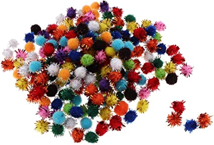 Individual Tipo C 200 Piezas freneci Sparkly Small Puff Kitten Cat Toys Glitter Pom Pom Balls Art Craft DIY Toys