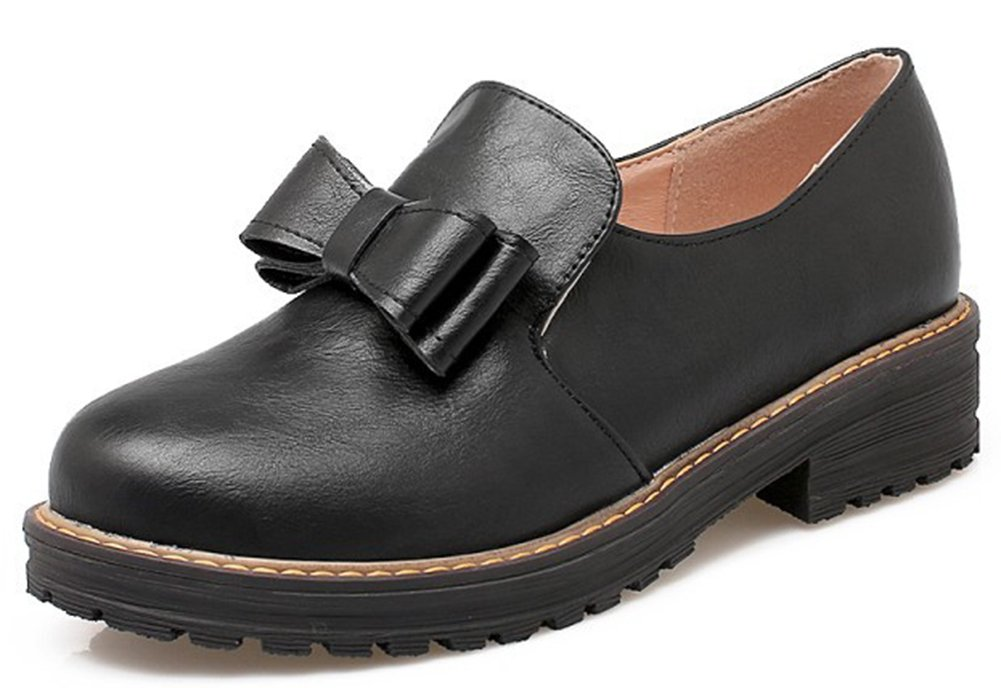 IDIFU Women's Sweet Low Heels Chunky Low Top Slip On Oxfords Boots Shoes with Bows Black 9.5 B(M) US