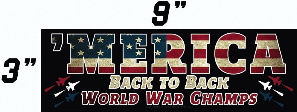 BACK TO BACK WORLD WAR CHAMPS Vinyl Sticker Window Decal AMERICA MERICA PRIDE