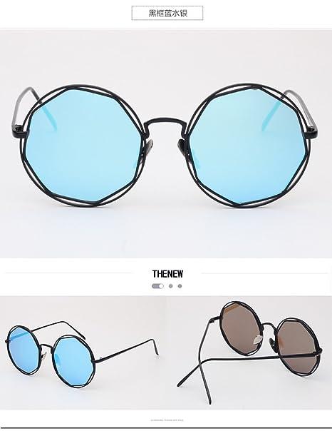 LXKMTYJ Gafas de sol salvaje moderno circular de metal ...