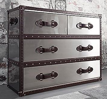 Dunord Design Sideboard Kommode Globe Dark Coffee Silber Recyceltes