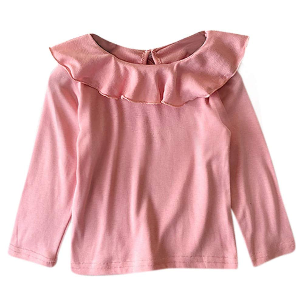 Loveablely Kids Girl Long Sleeve Pullover Autumn Winter Ruffles Collar Warm Cotton T-Shirt Tops 2-8 Years