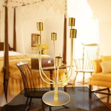Innovador estilo minimalista hierro dorado vela soporte boda ...
