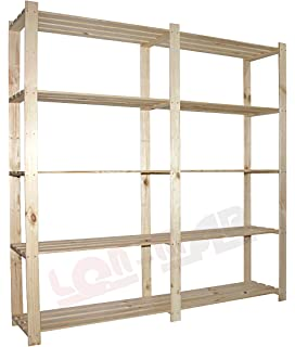 Holzregal  Holzregal 5 Böden 170x85x38 Eckregal Kellerregal Lagerregal ...
