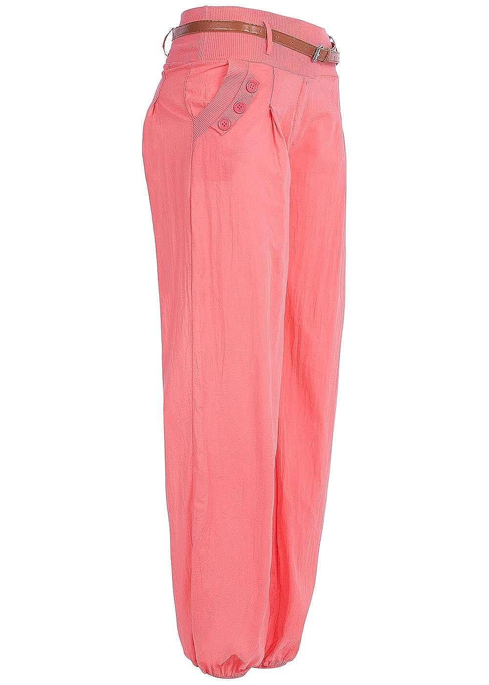 Styleboom Fashion® Damen Sommer Hose Harem Style 2 Taschen Gürtel ...