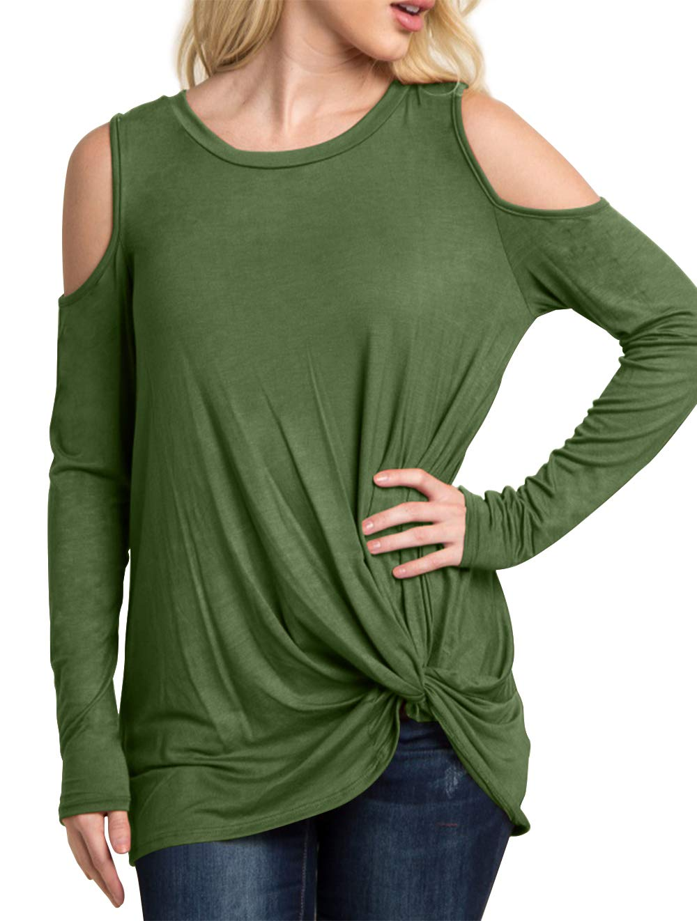 Eanklosco Women's Long Sleeve Cold Shoulder Cut Out T Shirts Casual Knot Front Tunic Tops (Amy Green, S)