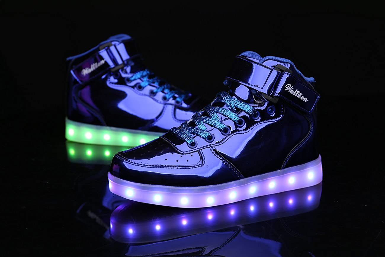 WaltZon LED Light Up Fashion Sports Flashing Sneaker Shoes for Kids Boys Girls
