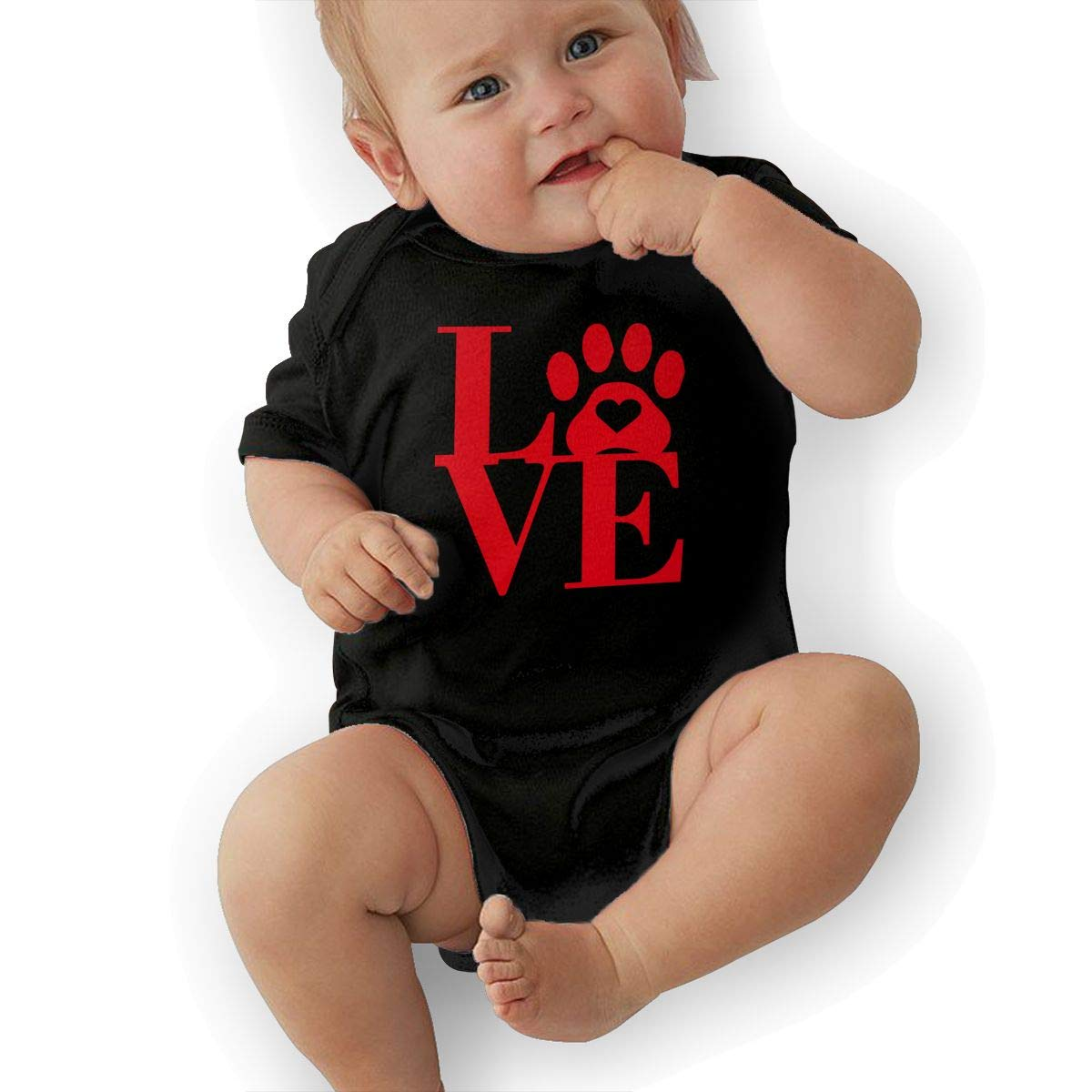Fashion Love Paw Print in Heart Sleepwear Short Sleeve Cotton Rompers for Baby Boys and Girls