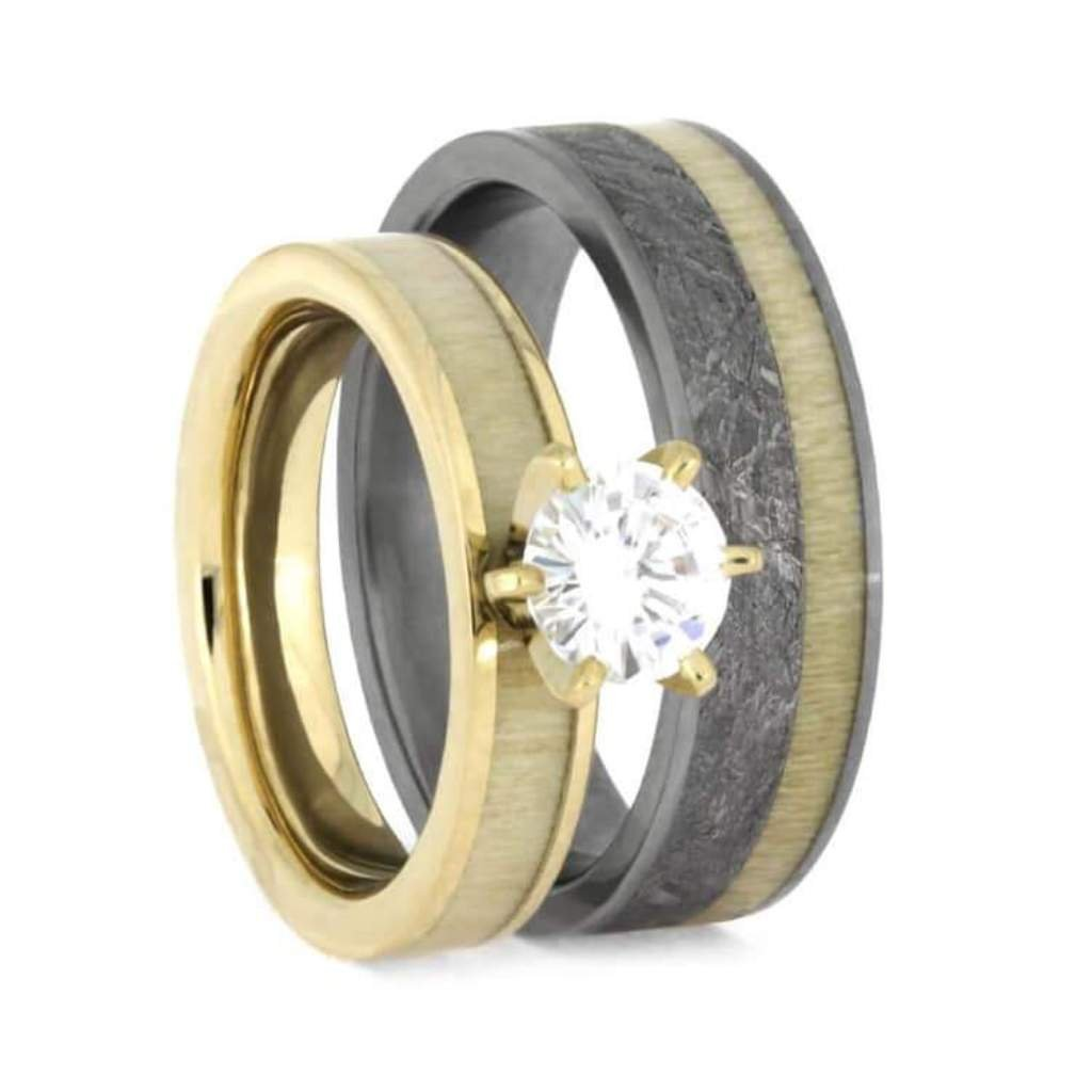 10k Yellow Gold Forever One Moissanite Ring And Gibeon Meteorite Aspen Wood Matte Titanium Band Couples Rings Sizes M10f4 Amazon: African Wood Wedding Rings At Reisefeber.org