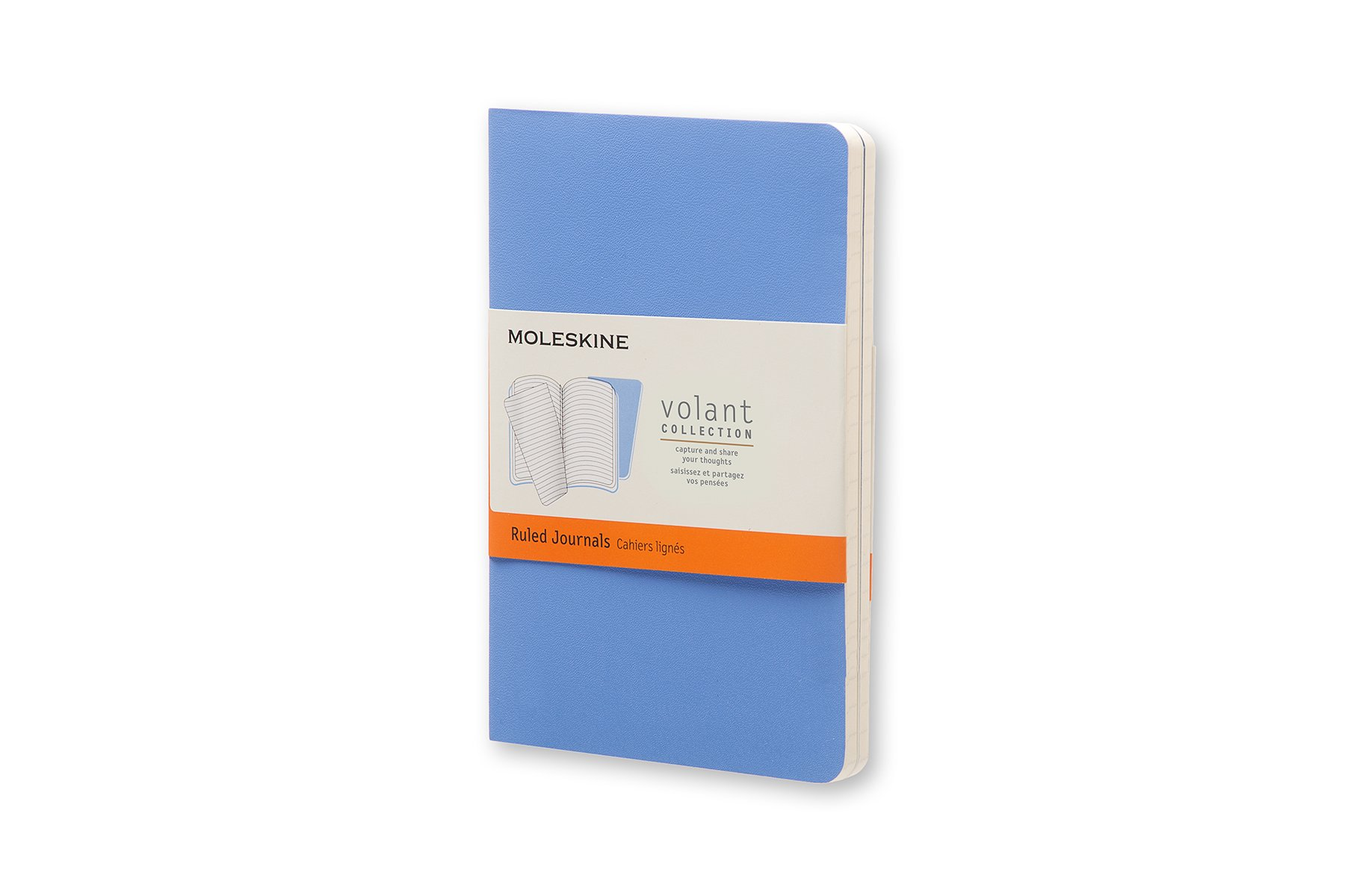 Moleskine Volant Soft Cover Journal, Blue, Ruled, Pocket x2