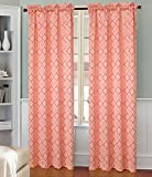 Cheap RT Designers Collection Oasis Jacquard Rod Pocket Curtain Window Panel, 54 x 84 inches, Neon Orange