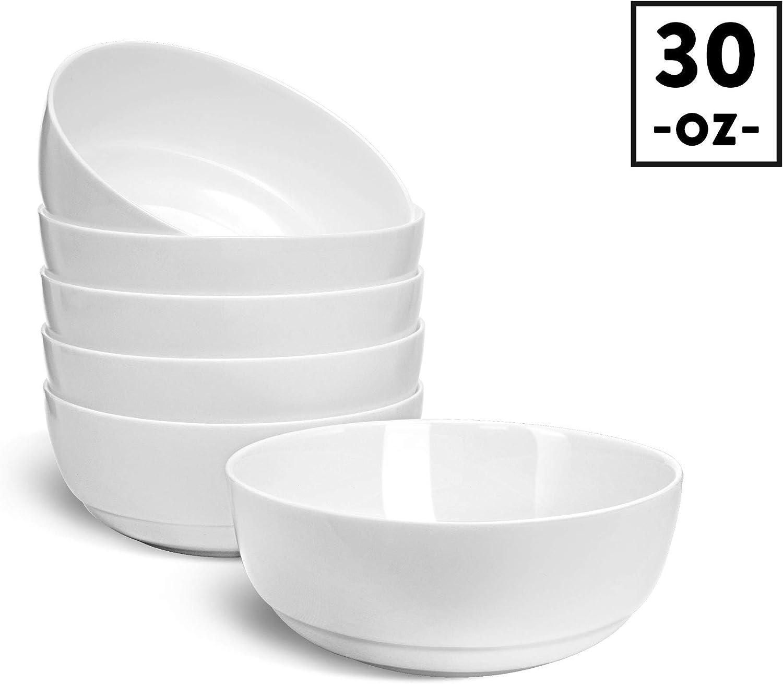 """HARMAN & CO Soup Cereal Salad Bowl, Large6.5"""" (30oz) Microwave & Dishwasher Safe, Frost White (Set of 6 Bowls)"""