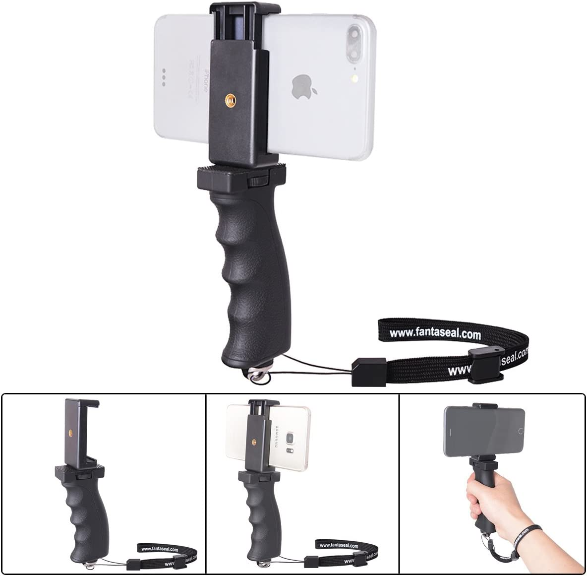 Fantaseal Ergonomic Cell Phone Smartphone Holder, Phone Selfie Stick Hand Grip Stabilizer Handheld Mount Phone Handle Support Steadycam Compatible with iPhone Xs X Nexus LG HTC Samsung etc: Camera & Photo