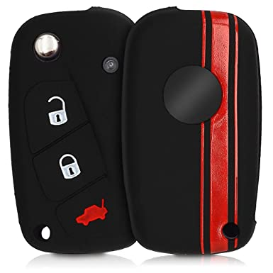 Black kwmobile Car Key Cover for Nissan Silicone Protective Key Fob Cover for Nissan 3 Button Car Key