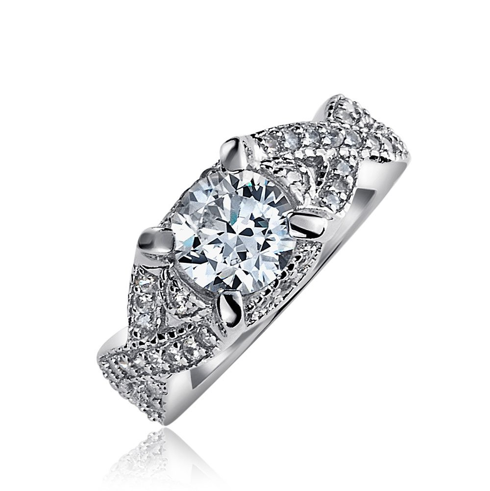 .925 Silver Vintage Style Round CZ Infinity Engagement Ring