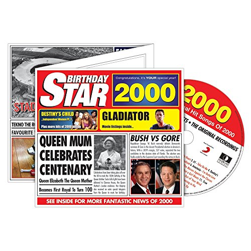2000 BIRTHDAY STAR Retro Greeting Card & CD Gift - 2000 Music Chart Hits Compilation CD & Year Greetings Card 6 x 5.5inches For A Man or Woman