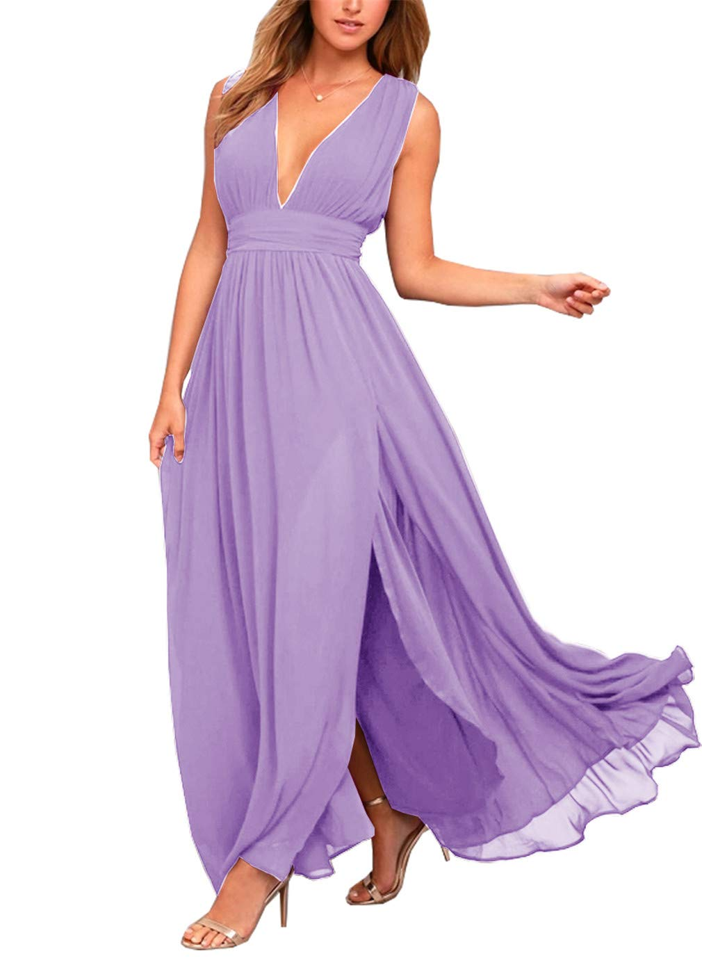 WHZZ Women\'s Chiffon Slit Bridesmaid Dresses V-Neck Long Prom Dresses Plus  Size Lavender