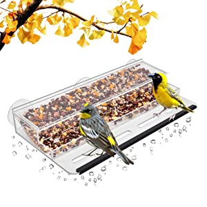 HHXRISE Acrylic Bird Feeder with Strong Suction Cups & Seed Tray,Window Outdoor Birdfeeders for Large Wild Birds with Large Standing Perch