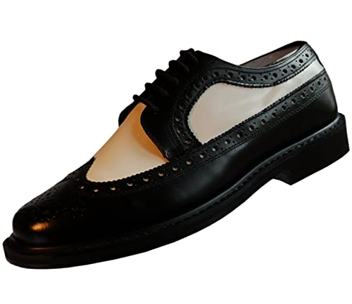 71e42049ff6 Brentano Men's Black and White Wingtips 1920s-1940s Vintage Style ...